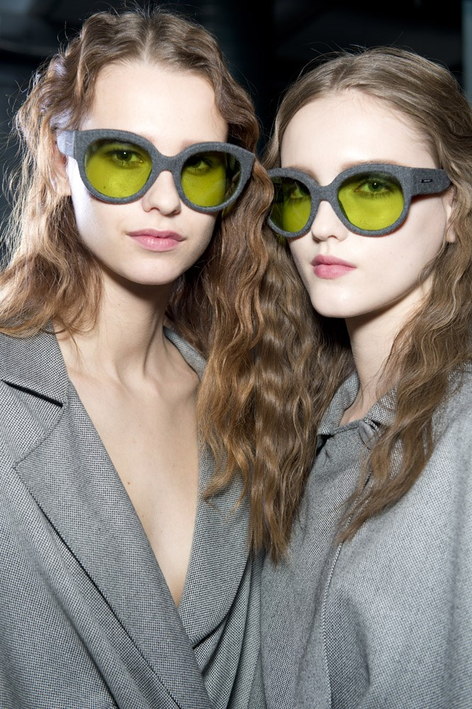 Two key 2015 trends, grey and flannel, backstage at Giorgio Armani