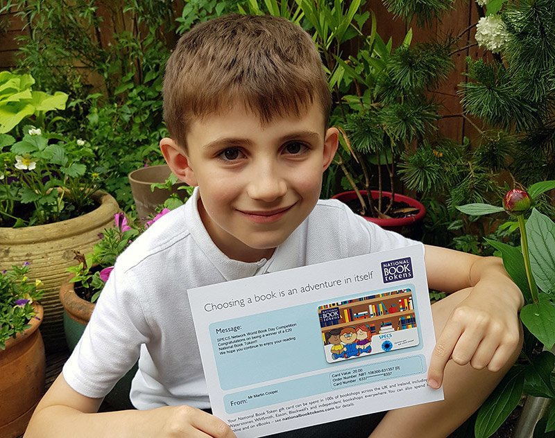 Harley with his book voucher