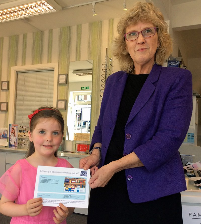 Harriet collected her voucher from The Deans Opticians in Saltdean