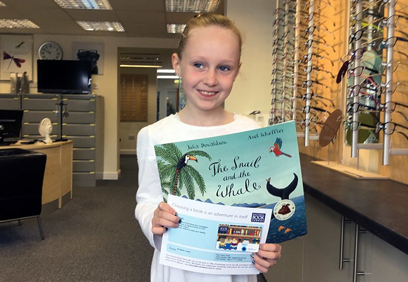 Lily-Grace collected her voucher from Blenkinsop Opticians in Garforth