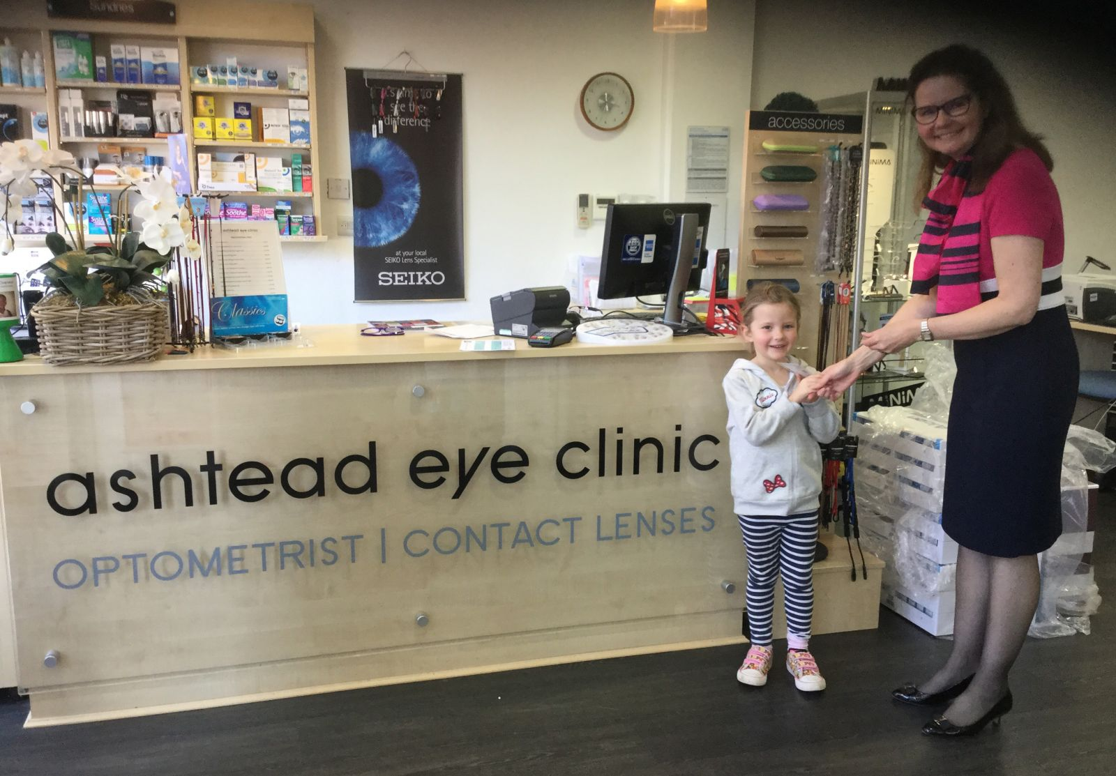 Abigail collected her book vouchers from Ashtead Eye Clinic, Ashtead