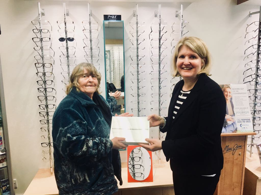 Ann Gwillim collected her iPad from Janice Levin at You and Eye @ Davidson Opticians in Potters Bar
