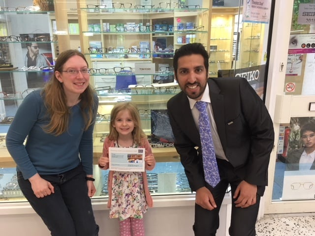 Danielle collected her book voucher from Sunny Sidhu Insight Opticians in Bracknell