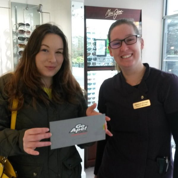 Gemma Brown collected her GoApe voucher from Jess at Classic Eyes in Bournemouth