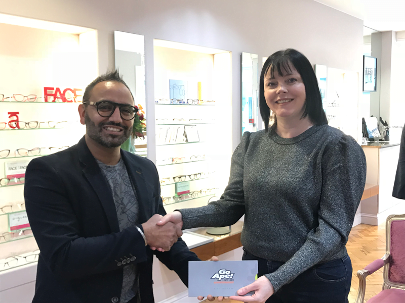 Katrina Walsh collected her GoApe voucher from The Oculist Opticians in Peterborough