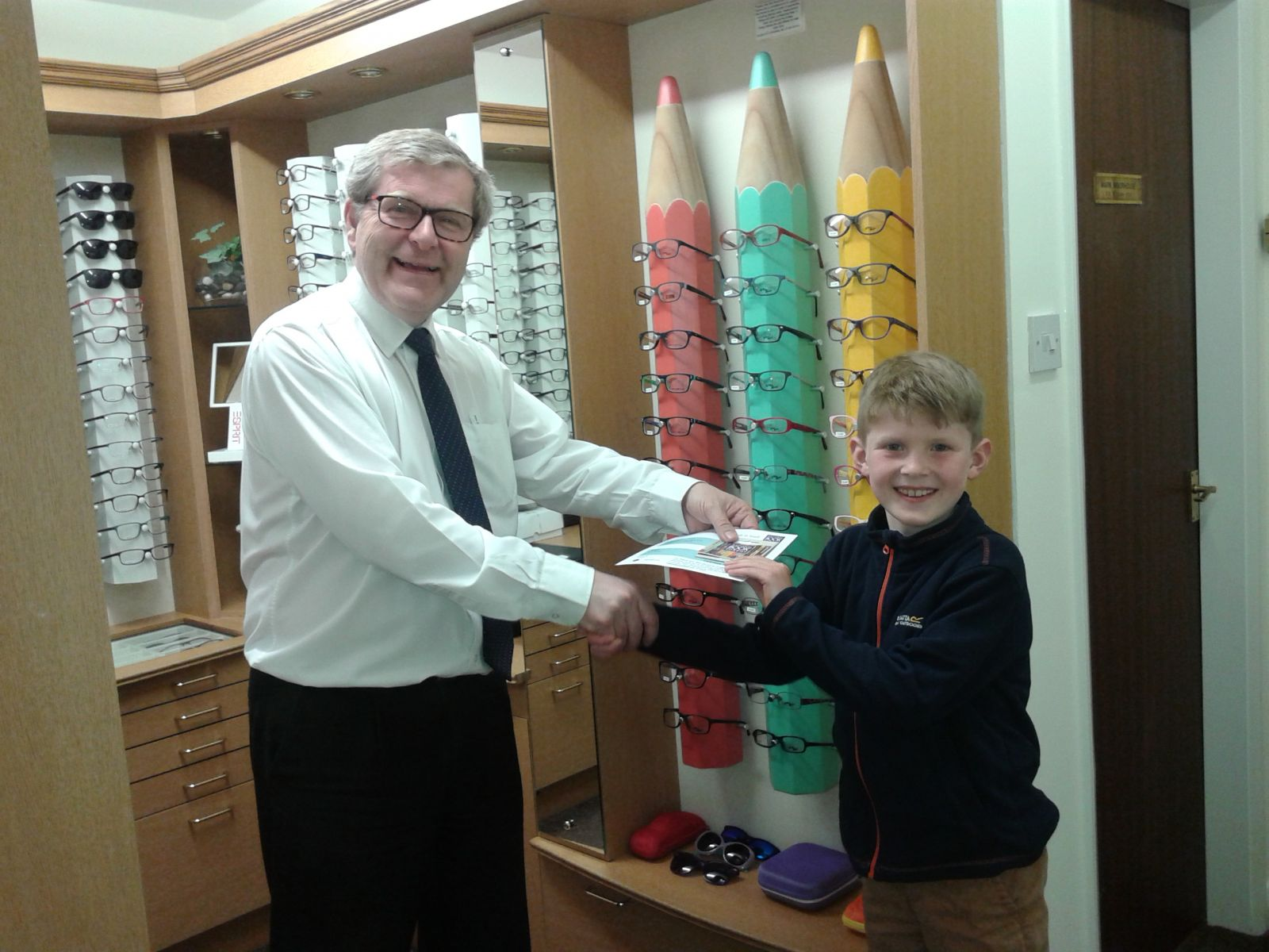 Ian collected his book vouchers from Moorhouse Opticians, Tadcaster