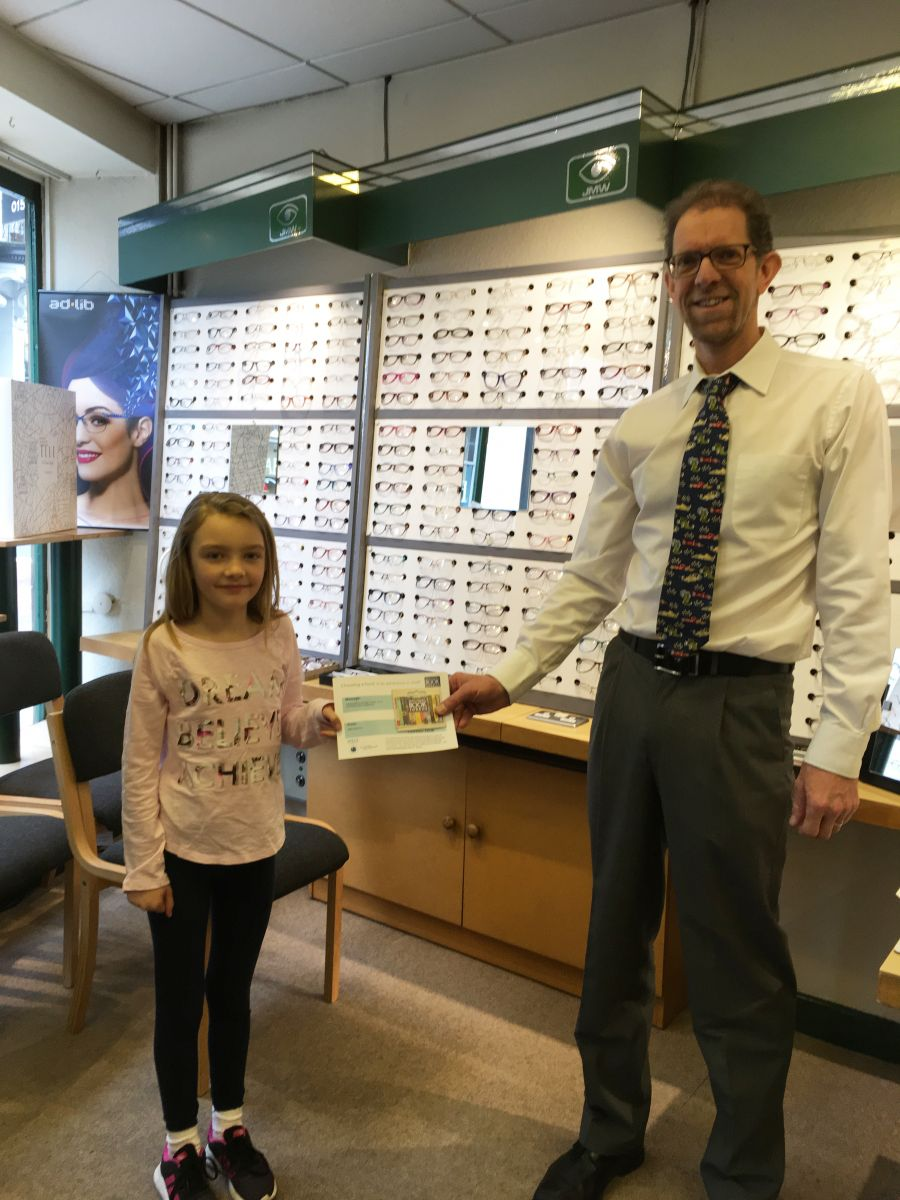 Layla collected her book vouchers from Welbourne Opticians, Lancaster
