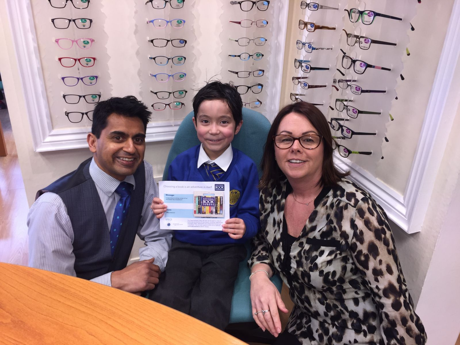 Sebastian collected his book vouchers from N K Opticians, Weston Super Mare