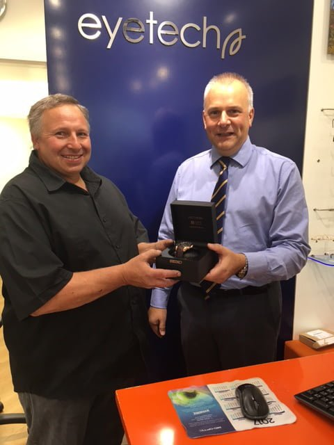 Keith Brawn collected his GPS Watch from Eyetech Opticians in Frome