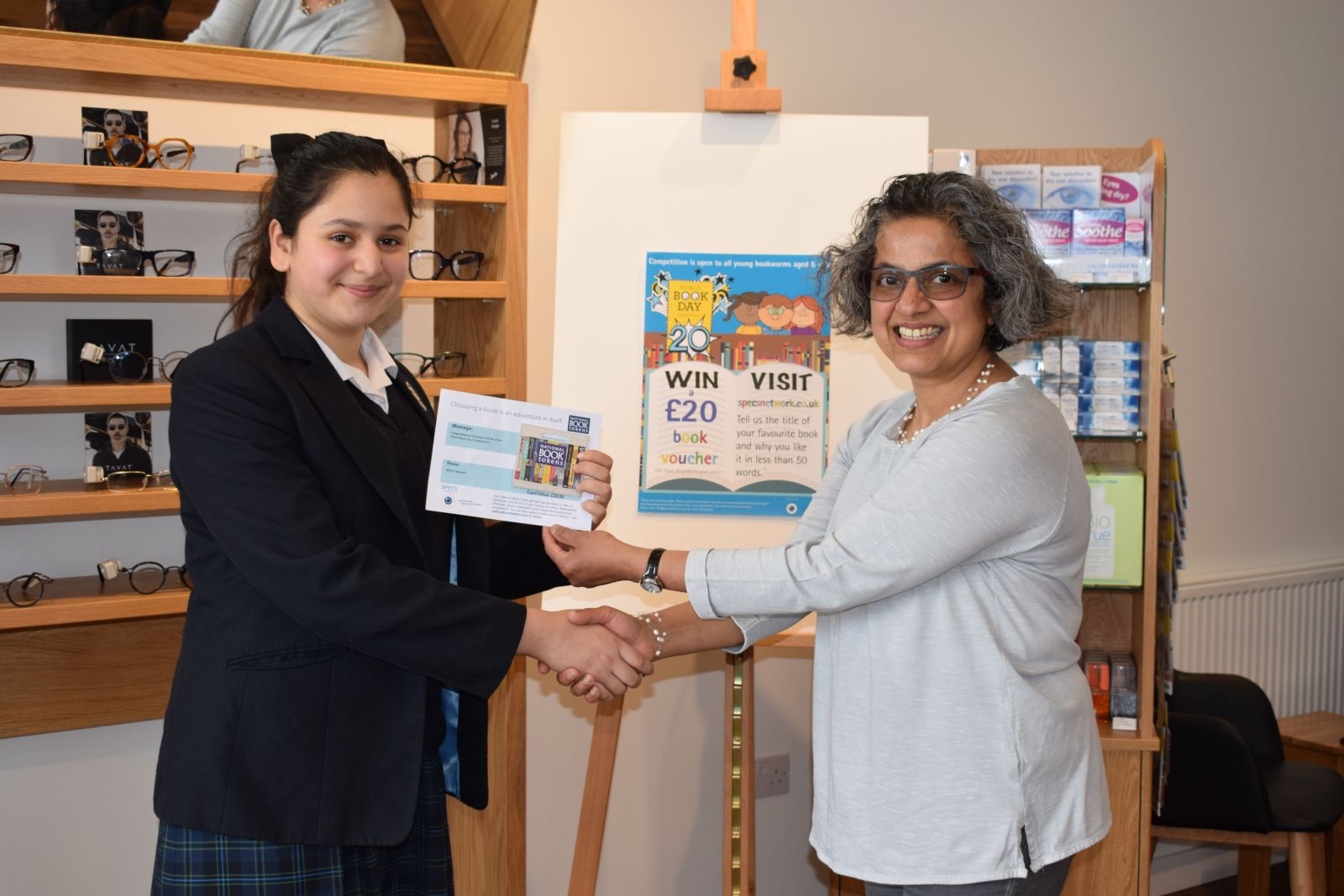 Siya collected her book voucher from Eyes on the Common Opticians, Ealing Common