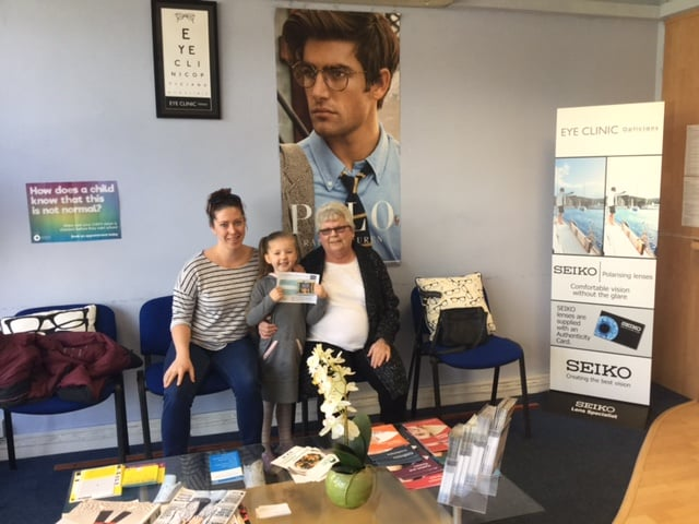 Summer Rayne collected her book vouchers from Eye Clinic Opticians, Chigwell